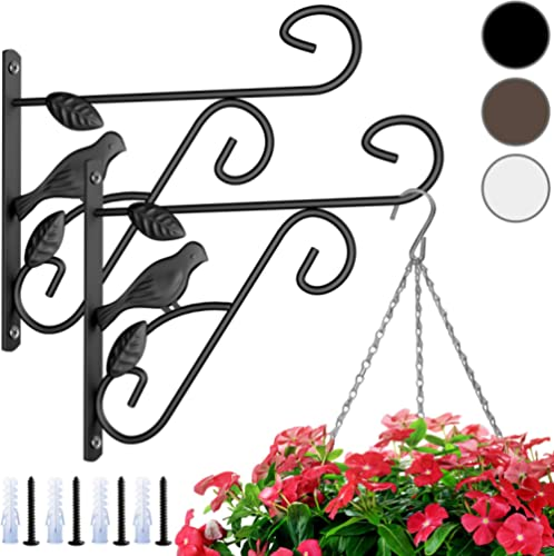 Amagabeli 2 Pack Hanging Plants Brackets 10'' Wall Planter Hooks Hangers Flower Pot Bird Feeder Wind Chimes Lanterns ...
