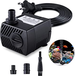 Fountain Pump, 80GPH(4W 300L/H) Submersible Water Pump, Durable Outdoor Fountain Water Pump with 7.2ft(2.2m) Power Cord, 3 Nozzles for Aquarium, Pond, Fish Tank, Water Pump Hydroponics, Fountain