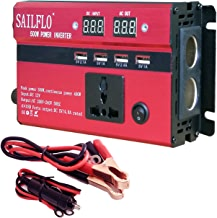 500W Peak Power Inverter DC 12V to AC 220V Car Adapter with 5A 4 USB Charging Ports 400W Continuous Output