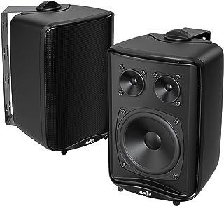 Haut-Parleurs Extérieurs, Moukey Enceinte Audio 3 Voies, Aux Intempéries ABS stéréo, Haut-Parleurs d'Extérieurs pour Jardi...