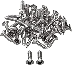 RuiLing Pack of 50 Chrome Electric Guitar Pickguard Backplates Mounting Screws, Electric Guitar Bass Cover Plate Screw for ST TL LP SG Guitar Parts