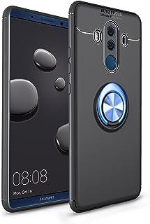 Huawei mate10 Pro 対応 Huawei mate10 Proケース Huawei mate10 Pro カバー Huawei mate10 Pro 携帯カバー 【Cavor】指輪 柔らかなシリコン tpu 柔軟性 超薄グロスマットテクスチャーアンチフィンガープリントノンスリップアンチインパクト耐摩耗ノンフェーディングソフトフォンケース360フル保護カバー 砂を磨き 指紋を防止する肌の感覚 Huawei mate10 Pro 携帯カバー 耐衝撃 横置きスタンド機能 (ブラック+ブルー)