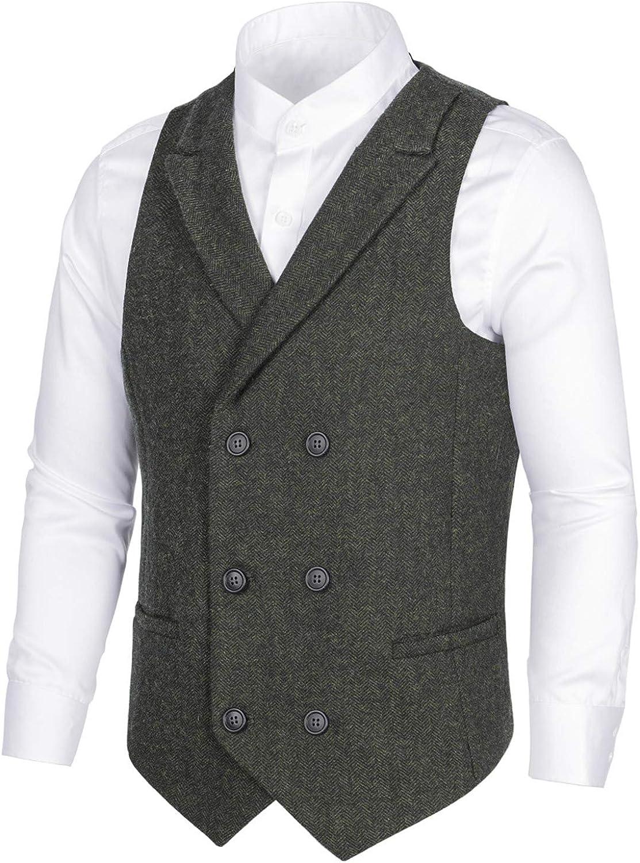 BOTVELA Mens Wool Blend Double Vest Suit Breasted お得セット 買収 Tw Herringbone