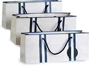 Wine Gift Bags – White with Basket Weave Pattern and Navy Stripes Purse Style Set of 3 by Simply Charmed