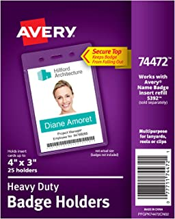Avery Heavy-Duty Clear Badge Holders, Fits Inserts up to 4