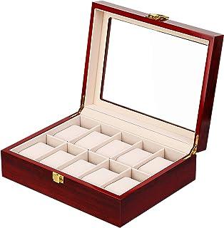 Présentoir Boîte Coffret à Montre Bijoux Coffret de Rangement avec Serrure Ecrin Homme Femme Bois
