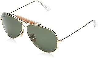 RAY-BAN RB3138 Shooter Aviator Sunglasses, Artista Gold/Green, 62 mm
