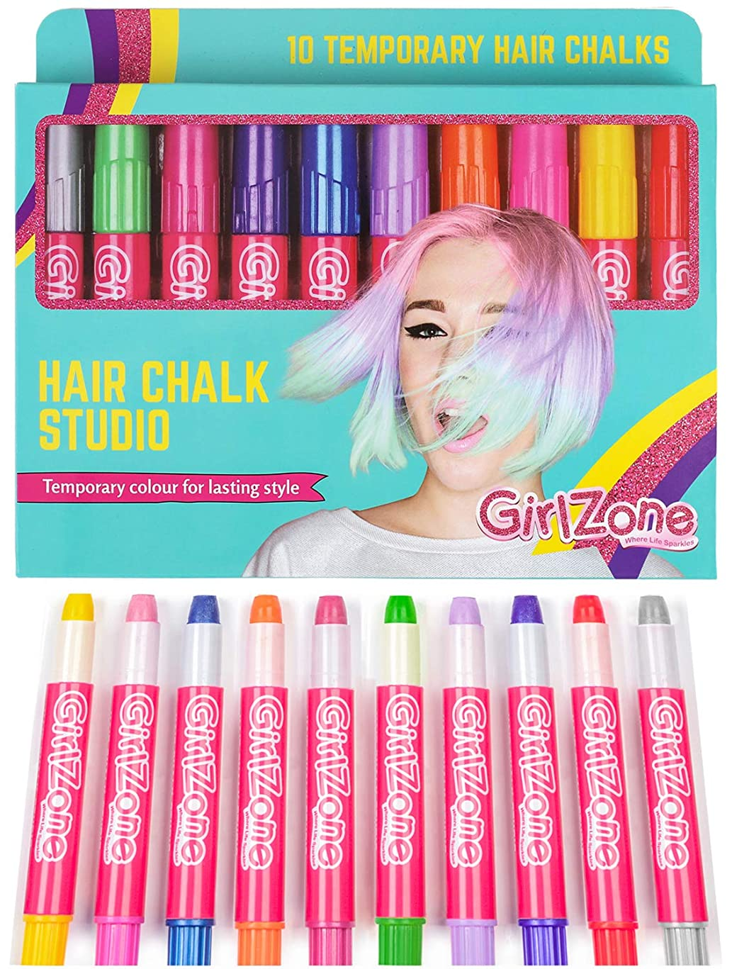 Hair Chalk Birthday Gifts For Girls - 10 Colorful Hair Chalk Pens. Temporary Color, Presents For Girls Of All Ages