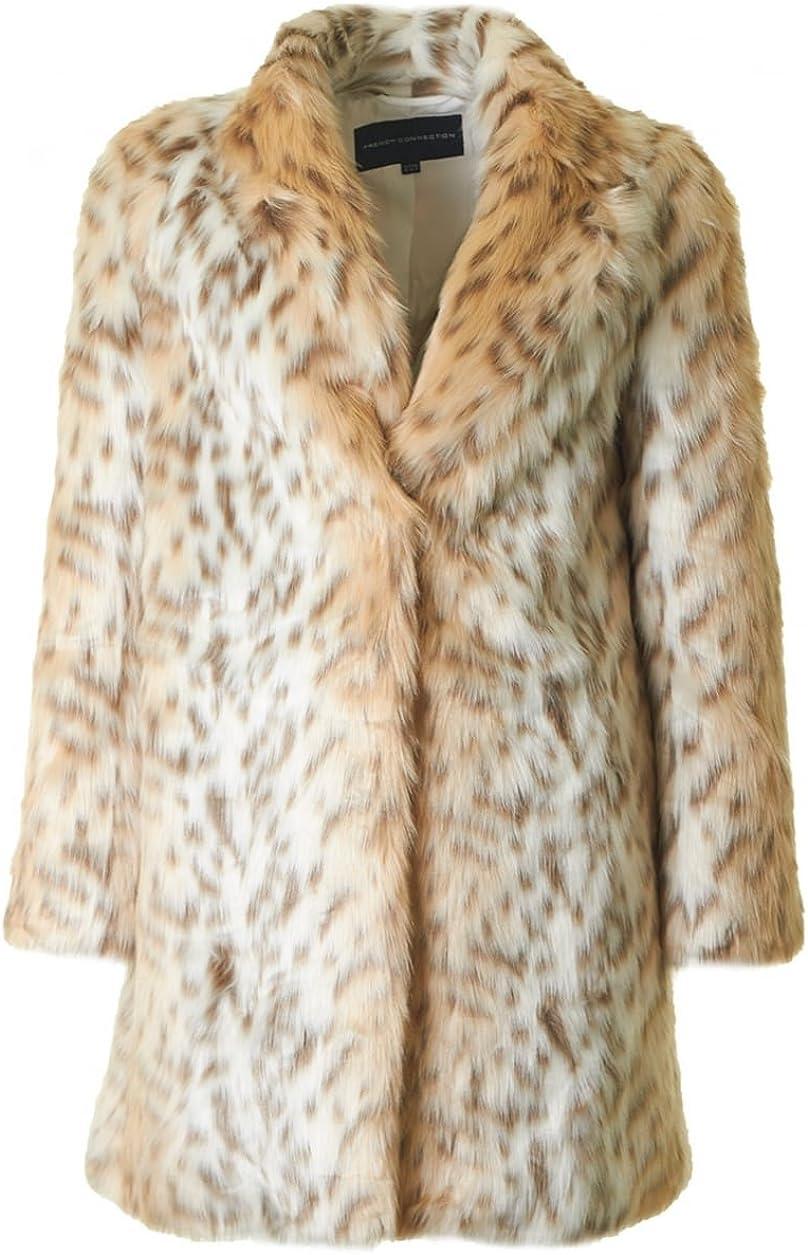 French Connection Women's Paulette Leopard Faux Fur Coat