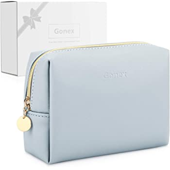 Gonex Small Makeup Bag for Purse PU Vegan Leather Travel Cosmetic Pouch Toiletry Bag for Women Girls Gifts Portable Water-Resistant Daily Storage Organzier Light Grey