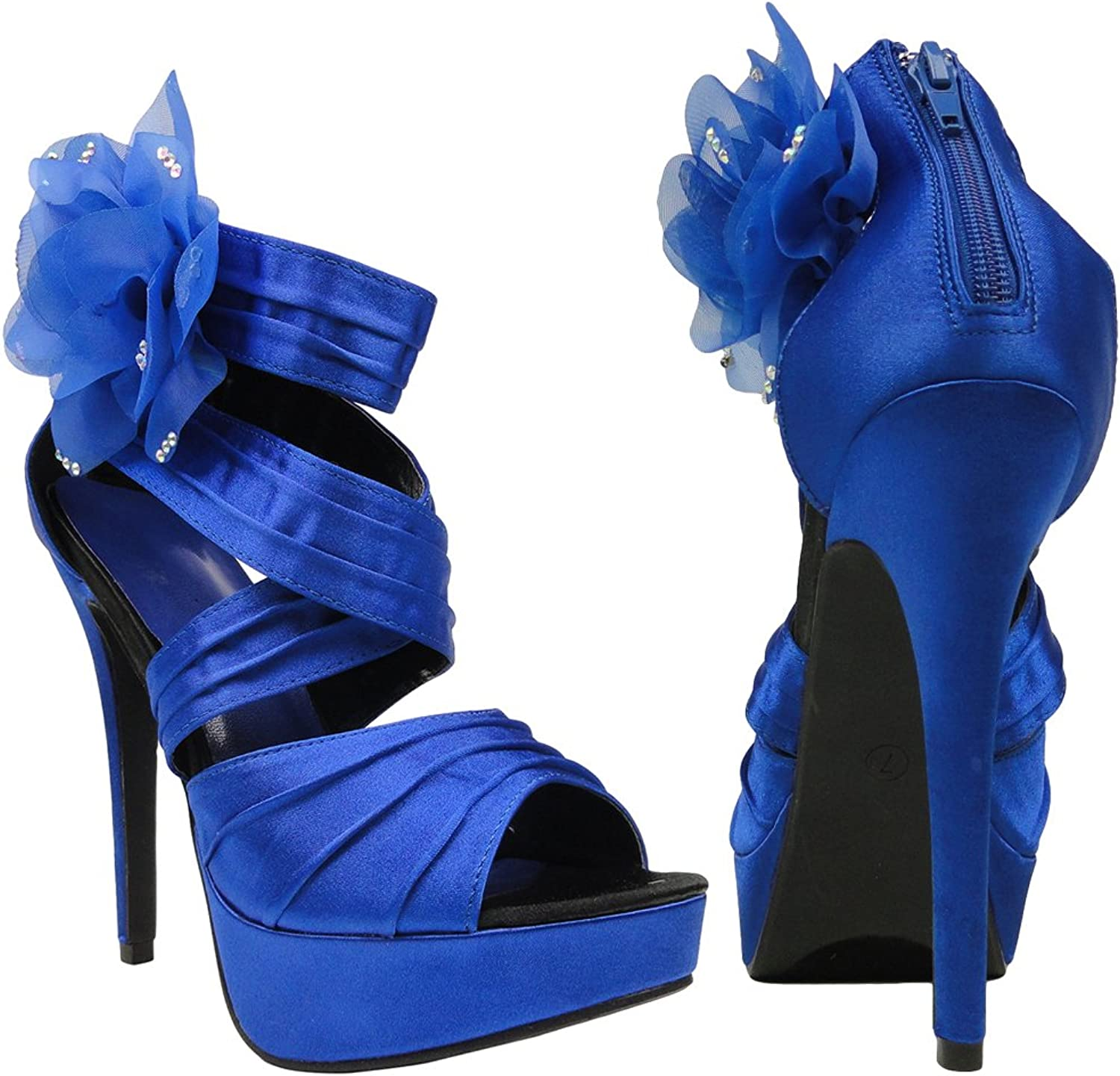 DS By KSC Womens Platform Sandals Strappy Ruched Satin Side Mesh Flower