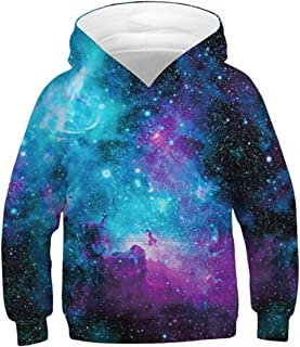 Enlifety Boys Girls Hoodies 3D Printed Sweatshirt Jackets Pullover Jumpers with Pockets No Velvet/Fleece 6-16T