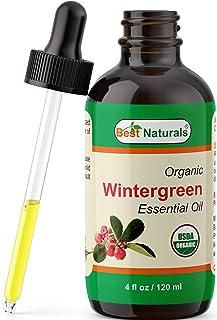 Best Naturals Certified Organic Wintergreen Essential Oil with Glass Dropper 4 FL OZ (120 ml) (Wintergreen)