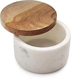 Sur La Table Marble Salt Keeper with Acacia Wood Lid