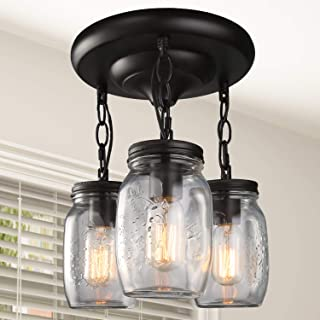 LNC Flush Mount Ceiling Light Fixture,Farmhouse Mason Jar Glass Pendant for Kitchen Island Bedroom Living-Room A02981, Brown
