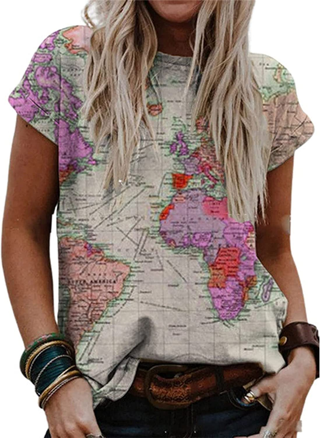 Fashion Womens Graphic Printed Short Sleeve Summer Casual T Shirt Loose Comfy Blouse Tee Tops