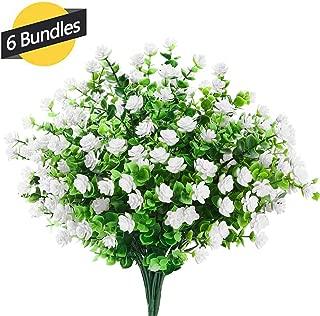 GREENRAIN 6 Bundles Artificial Flowers Outdoor Fake Flowers for Decoration UV Resistant No Fade Faux Plastic Plants Garden Porch Window Box Décor (White)