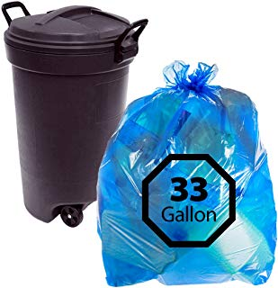 Primode Blue Recycling Trash Bags 33Gallon 100 Count Heavy Duty Garbage Bag for Indoor Or Outdoor Use 33x39 Made in The USA