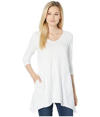 Mod-o-doc Slub Jersey 3/4 Sleeve V-Neck Tunic with Pockets (White) Women