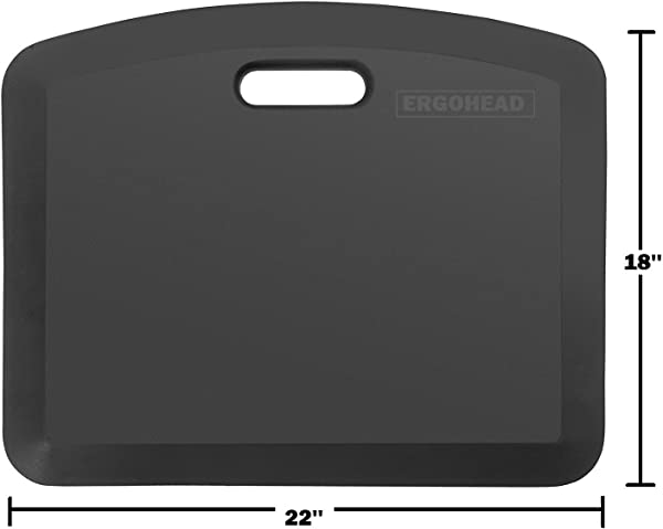 Original Ergohead Anti Fatigue Comfort Standing Mat Ergonomically Engineered Perfect For Standing Desk Kitchen Gardening And Garages 18 X 22 Inches Black