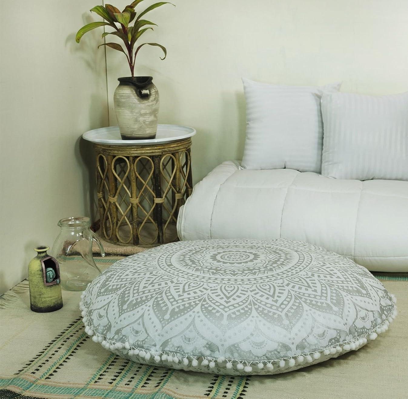 Popular Handicrafts Mandala Round Hippie Floor Pillow Cover (Silver, 32