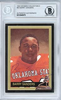 Barry Sanders Autographed 1992 Heisman Collection Card #54 Oklahoma State Cowboys Beckett BAS #10540675 - Beckett Authentication