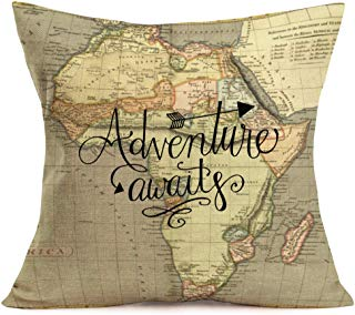 Smilyard Geography Theme Cotton Linen Decorative Pillow Covers Home Decor World Map with Adventure Awaits Quote Throw Pillow Case Couch Covers Arrows Pillow Covers 18x18 Inch for Sofa (Map-C)