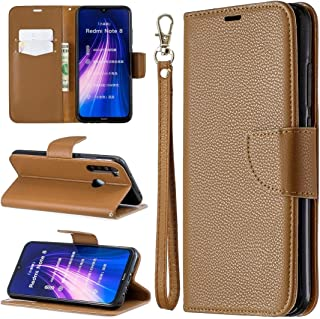For Xiaomi Redmi Note 8 Litchi Texture Pure Color Horizontal Flip PU Leather Case with Holder & Card Slots & Wallet & Lanyard New (Dark Blue) MengT (Color : Brown)