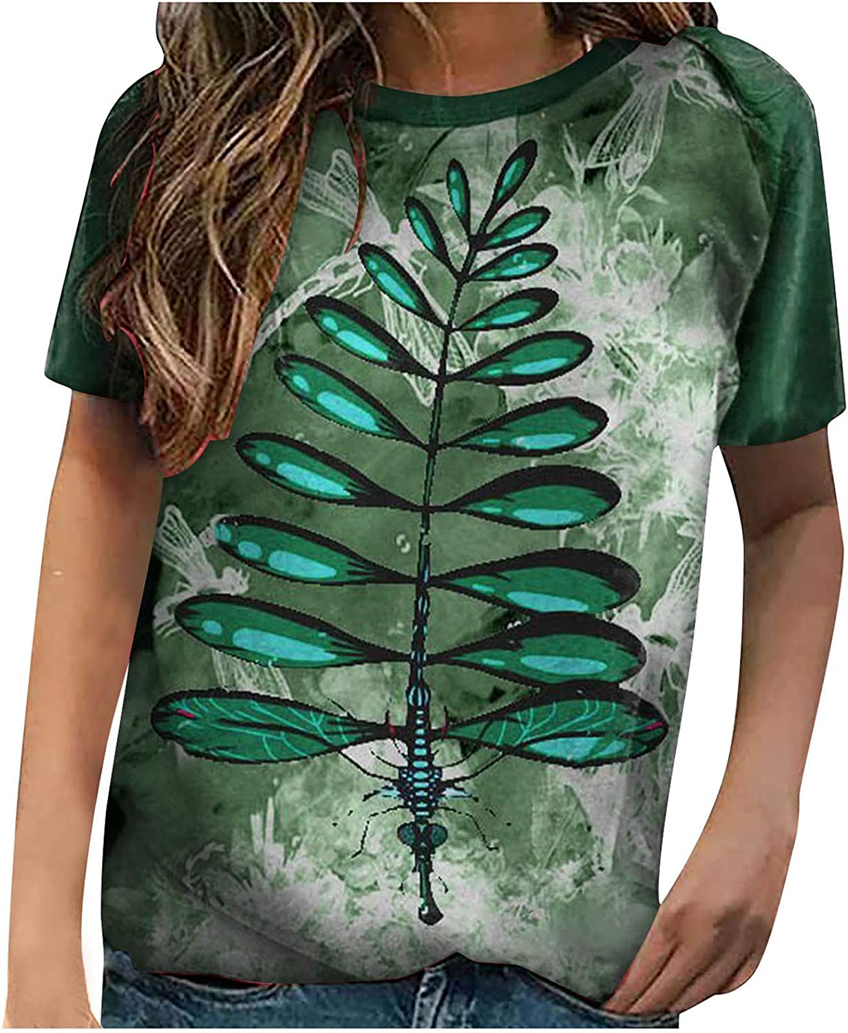 Tshirts for Womens Women's Dragonflies T-S gift In a popularity Graphic Sleeve Short