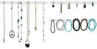 Wallniture Puno Wall Mount Jewelry Organizer Necklace Earring Holder Rack with Hooks White Set of 3