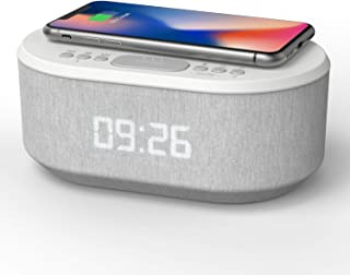 i-box Bedside Alarm Clock Radio Non Ticking with USB Charger, Bluetooth Speaker, QI Wireless Charging & Dimmable LED Displ...