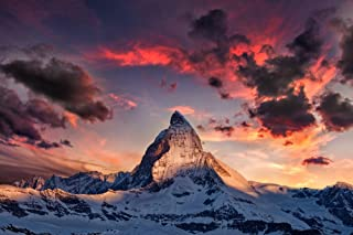 The Alps, Switzerland - Matterhorn Mountain Peak and Sunset (12x18 Art Print, Wall Decor Travel Poster)