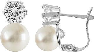 |Pendientes en plata de ley 925 con perla de 7 mm y circonita de 5 mm. Diseño Tú y Yo Zirconita 5mm y Perla 7mm