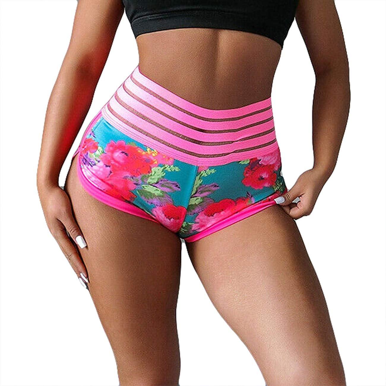 Folima Womens Yoga Scrunch Butt Shorts High Waist Workout Running Gym Shorts Tummy Control