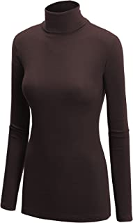 Lock and Love Women's Soft Basic Lightweight Long Sleeve Turtleneck Top S-3XL_Made in U.S.A.