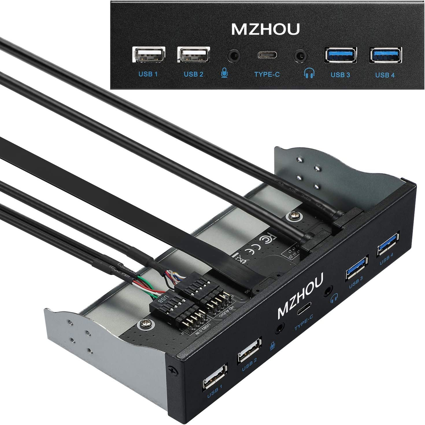 MZHOU USB2.0 + 3.0 Metal Front, 5.25 inch 19Pin Front Panel Adapter, 4 USB 3.0 Port hubs and (1HD Audio Port / 1TPY-C Port / 1 Microphone Input)