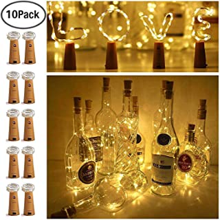 10 Pack 20 LED Wine Bottle Cork Lights Mini Fairy String Lights Copper Wire, Battery Operated Starry Lights for DIY, Festival, Wedding, Party, Indoor, Outdoor Decoration (Warm White)