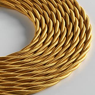 Klartext – Cable textil trenzado Belle Époque para instalación eléctrica vintage, 3 x 1 mm, dorado, 3 m