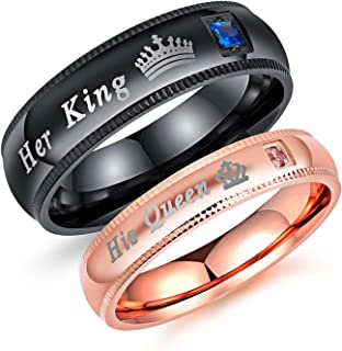 2pcs Matching Set Couple Rings His Queen and Her King Stainless Steel Promise Rings Engagement Band Valentine's Day Couples Gifts