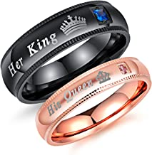Fashion Ahead 2pcs Matching Set Couple Rings His Queen and Her King Stainless Steel Promise Rings Engagement Band Valentine's Day Couples Gifts