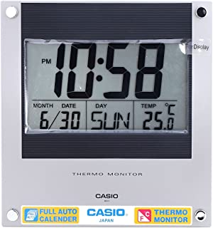 Casio Id-11-1 Digital Auto Calendar Thermo Hygrometer Wall and Desk Clock with Indoor Temperature Silver Blue Battery Incl...