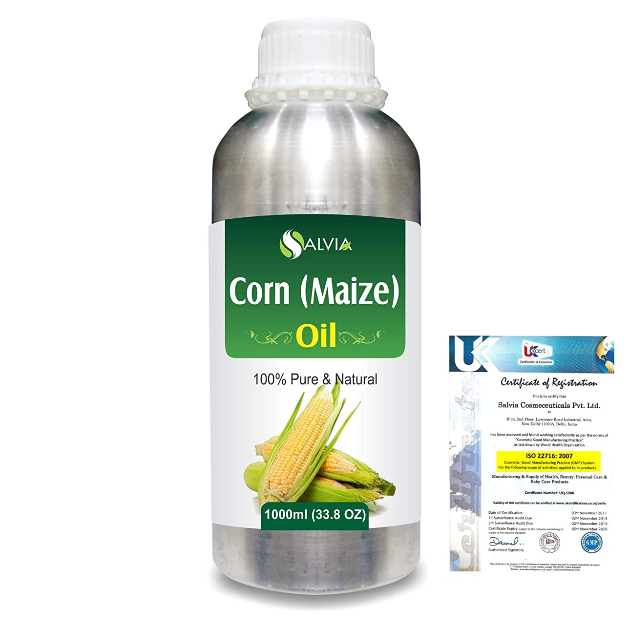 まろやかな交通渋滞モチーフCorn (Maize) (Zea mays)100% Natural Pure Carrier Oil 1000ml/33.8fl.oz.