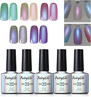 5PCS Pearl Nail Polish Gel Manicure Salon Decor Nail Art Elegant Shell Shiny Under Light UV LED Soak Off Gift Set FairyGlo 10ml 016
