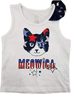 Girls Red White Blue Silver Cat Star Patriotic Meow Tank Top Bow T-Shirt