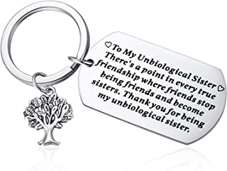 Unbiological Sister Gifts,Soul Sister Gifts,Thank you Being My Unbiological Sister Keychain,Ture Friendship Jewelry,Appreciation Gift for Women Best Friend BFF Besties