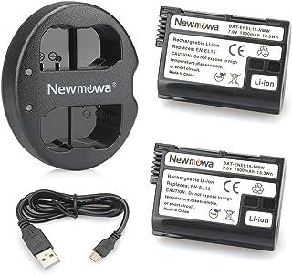 Newmowa EN-EL15 Battery (2 Pack) and Dual USB Charger for Nikon EN-EL15 and Nikon 1 V1, D600, D610, D750,D800, D800E, D810...