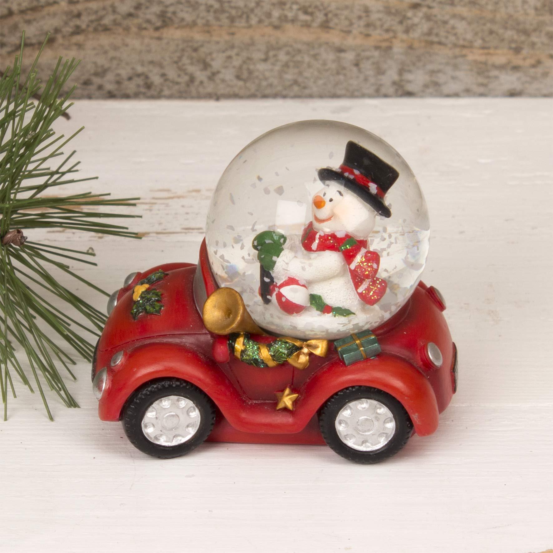 Muñeco de nieve en coche de la Navidad Cristal Bola de nieve ...