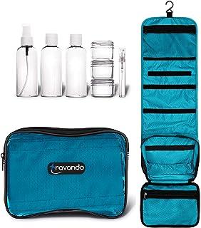 """TRAVANDO Hanging Toiletry Bag""""FLEXI"""" + 7 TSA Approved Liquid Bottles - Travel Set for Men and Women - Toilet Kit for Cosme..."""