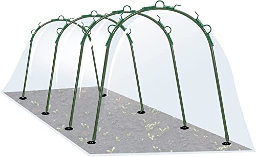VIVOSUN Green House Hoops, Garden Tunnel with PE Cover and Garden Stakes for Raised Garden Beds for Outdoor Growing Height 23.6 Inches