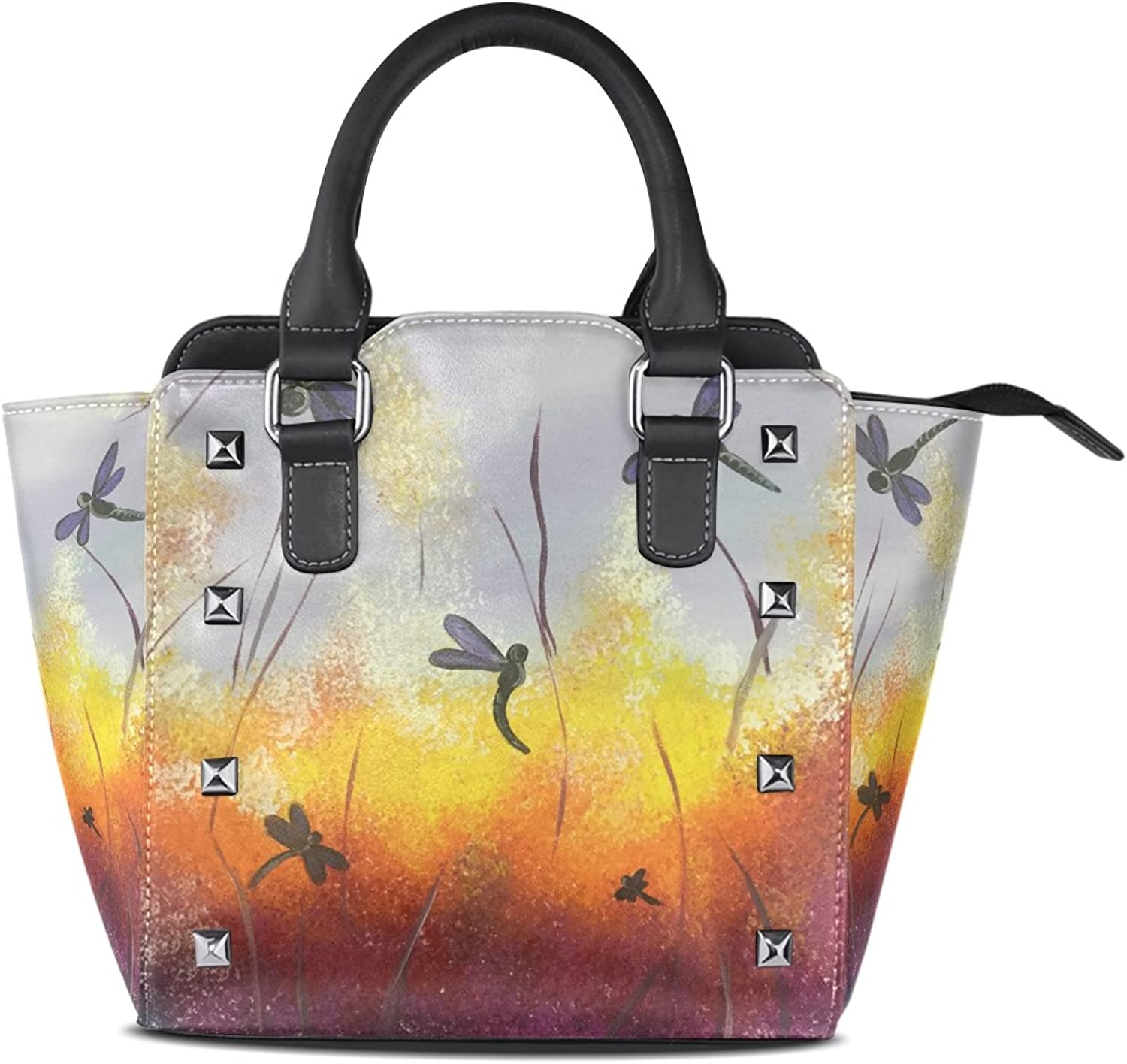 Sunlome Painting Dragonfly Print Women's Leather Tote Shoulder Bags Handbags